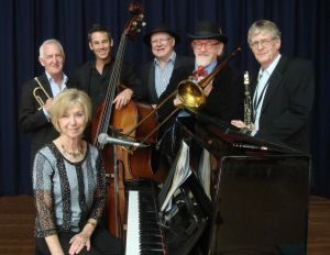 The Caxton Street Jazz Band in the Swigmore Hall at Robert Channon Wines - Tourism TAS